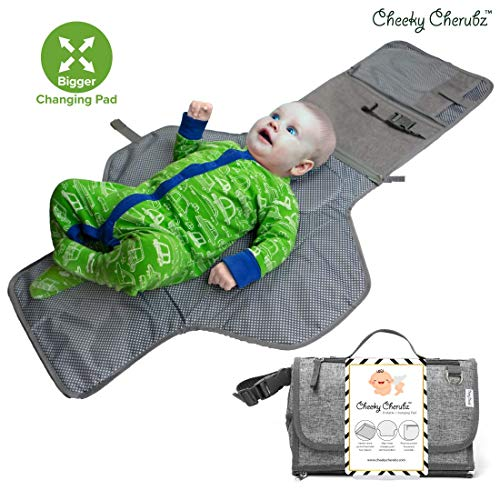 Portable Changing Pad, Portable Diaper Changing Pad, Diaper Bag Mat, Foldable Travel Changing Station   Stroller Strap, Carry Handle, Pockets for Wipes   for Infants & Newborns (Grey)