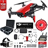 DJI Mavic Air Fly More Combo (Flame Red) Drone Combo 4K Wi-Fi Quadcopter with Remote Deluxe Fly Bundle with Hard Case VR Goggles Landing Pad 64GB microSDXC Card and 1 Year Warranty Extension