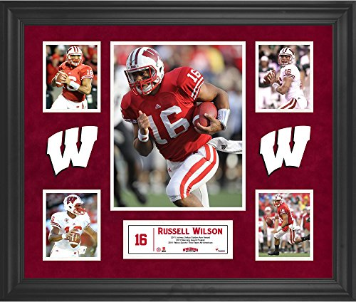 (Russell Wilson Wisconsin Badgers Framed 5-Photo Collage - College Player Plaques and Collages)