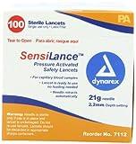 Dynarex Sensilance Safety Lancets, 21 Gauge, Sterile, 100 Count