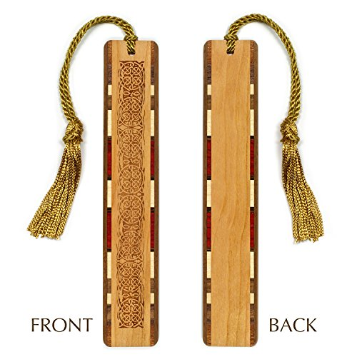Celtic Knot Design - Engraved Wooden Bookmark with Tassel #2 - Personalized version also available - search (Celtic Knot Bookmark)