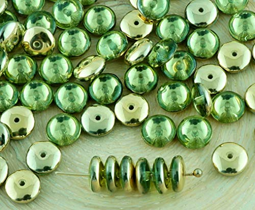 Olive Green Glass Beads - 60pcs Crystal Olive Peridot Green Metallic Gold Half Disc Flat Round Disk Spacer Washer Solo One Hole Czech Glass Beads 6mm
