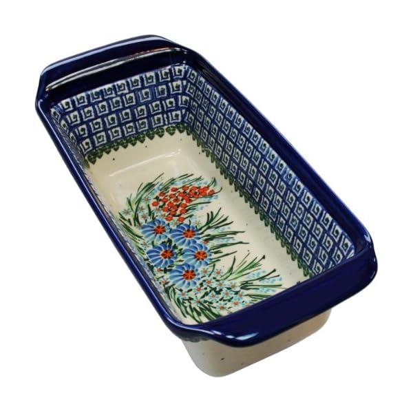 Polish Pottery Ceramika Boleslawiec 1207/169 Bread Meatloaf Baker, Royal Blue Patterns