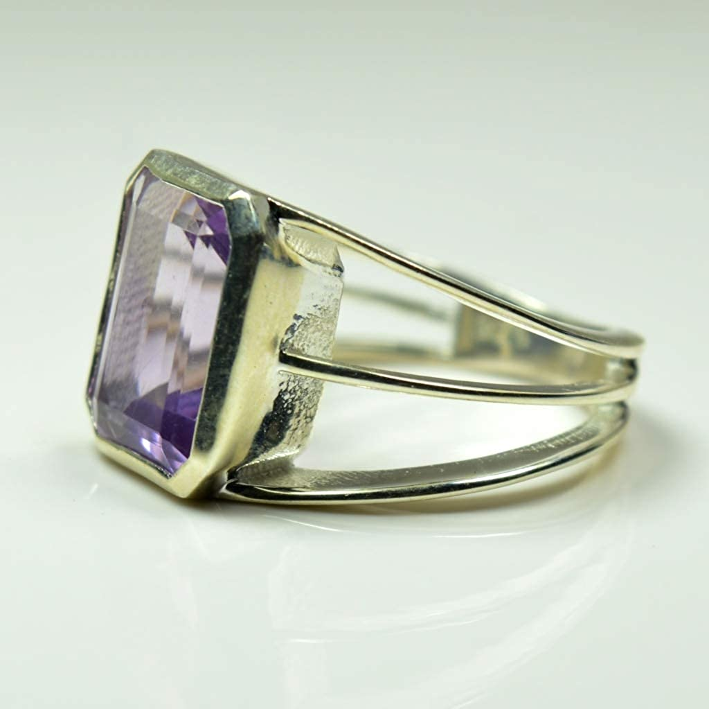Jewelryonclick Natural Amethyst Rings for Womens Birthday Gift Chakra Healing February Jewelry Size 4-13