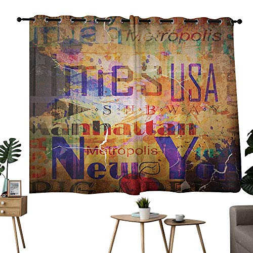 Nyc Black Letters - Wlkecgi Kids Room Curtains New York Grunge Style Complex Artsy Montage NYC Letters on Magazine Cover Popular Brooklyn Multicolor Blackout Draperies for Bedroom Window W63 xL72
