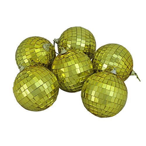 Northlight 6ct Gold Mirrored Glass Disco Ball Christmas Ornaments 3.25