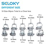 Seloky 88Pcs 10 Size Mini Fuel Injection Style Hose Clamp Assortment Kit for Diesel Petrol Pipe