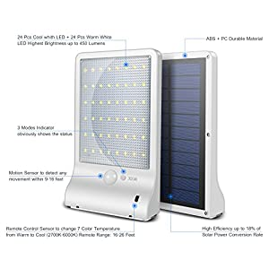 48 LED Solar Lights Outdoor, Motion Sensor Wall Sconces Light withRemote Control and 7 Adjustable Color Temperatures from Cool White to Warm White (Cool + Warm White)