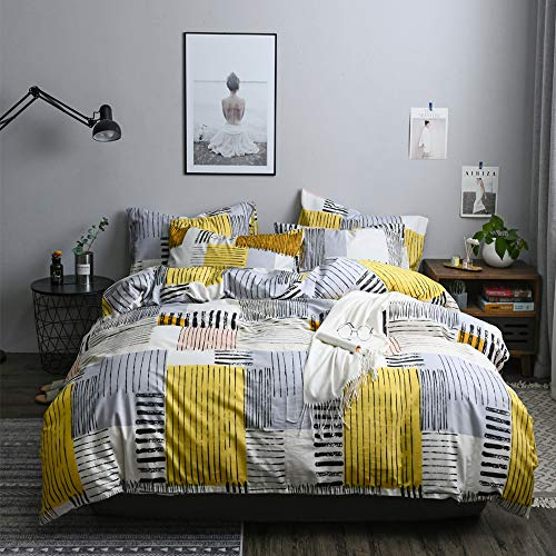 Soft Geometric Queen Duvet Cover Set 3 Piece 100 Percent Natural Cotton Plaid Striped Bedding Set Full Grey Yellow Comforter Cover for Boys Men Lightweight Breathable and Comfortable (No Comforter) (Designer Outlet New Jersey)