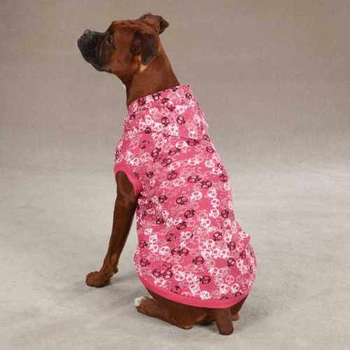 Casual Canine Polyester/Cotton Bone Heads Waffle Dog Hoodie, Small/Medium, Pink