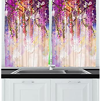 Ambesonne Kitchen Decor Collection, Floral Country Style Watercolor Painted  Effect Japanese Garden Flowers Rain Backdrop