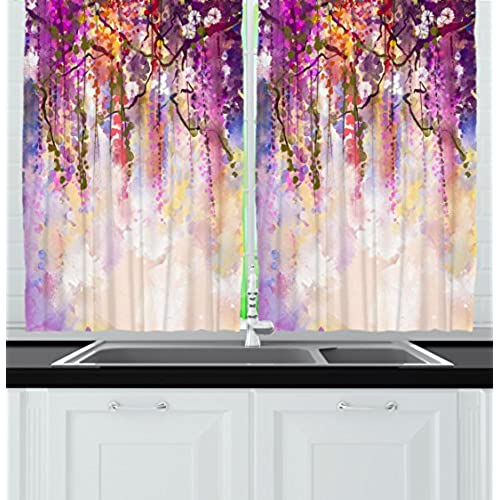Floral Country Style Watercolor Painted Effect Japanese Garden Flowers Rain Backdrop Window Treatments For Kitchen Curtains 2 Panels 55X39 Inches