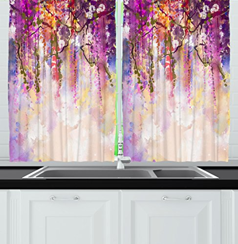 Ambesonne Kitchen Decor Collection, Floral Country Style Watercolor Painted Effect Japanese Garden Flowers Rain Backdrop, Window Treatments for Kitchen Curtains 2 Panels, 55X39 Inches, Purple Violet