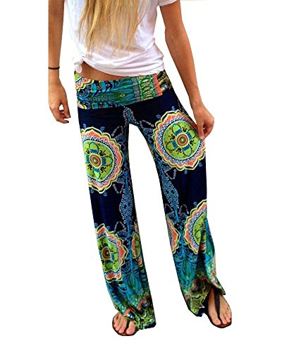 Women's Tribal Aztec Printed Waist Baggy Bohemian Palazzo Pants S (Tribal Clothing For Women)