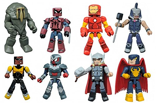 (Marvel Minimates Walgreen's 2.5 Man-Thing, Power Man, Thor, Power Princess, Iron Man, Spyder-Knight, Shield Armor Spider-Man,)