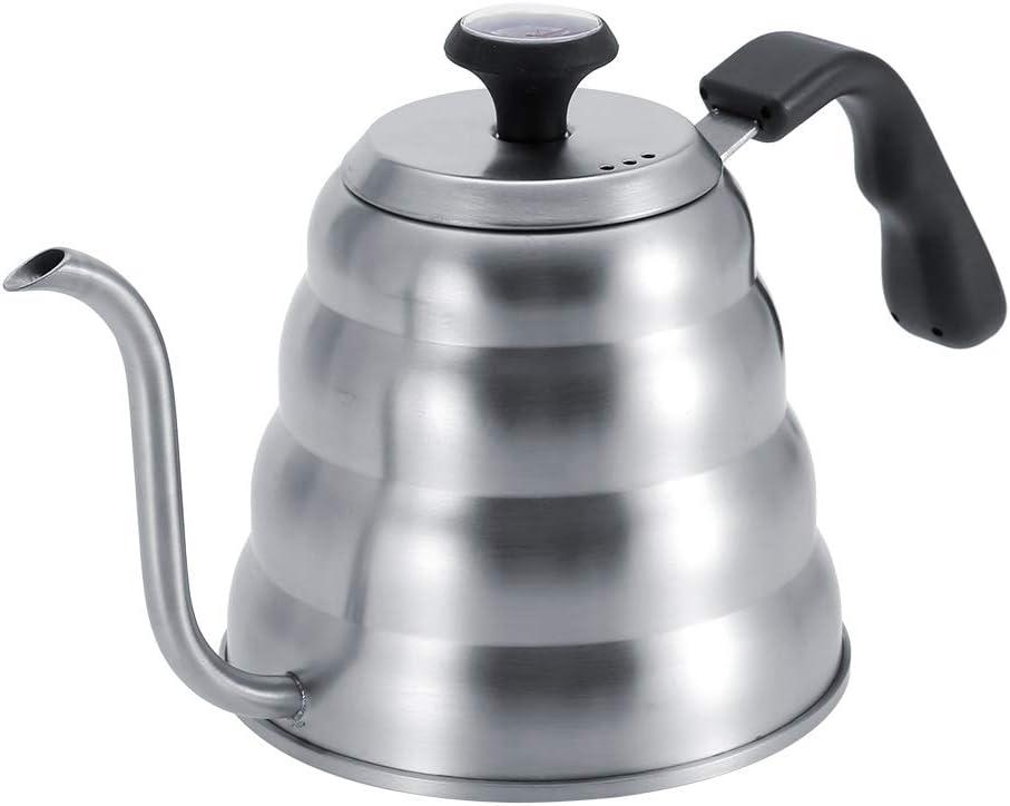Pokerty Hervidor de café, Acero Inoxidable Cafetera de té Tetera de Goteo Caldera con Cuello de Cisne y termómetro Incorporado(1.2L): Amazon.es