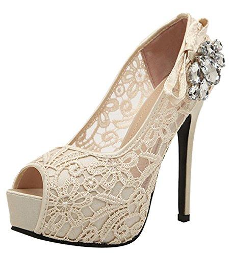 D2C Heel Toe Beauty Pumps Women's Platform Lace Sandals High Pretty apricot Peep TxrTA0f