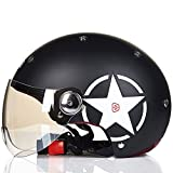 DGF Helmet Motorcycle Electric Semi-cover Spring Summer Lightweight Retro Men And Women Sports Anti-collision Helmet Multi-color Breathable Sweat (Color : D, Size : L)