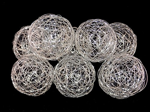 Glass Decorative Balls (3'' Decorative Wire Ball Silver. Set of 8 Balls....)
