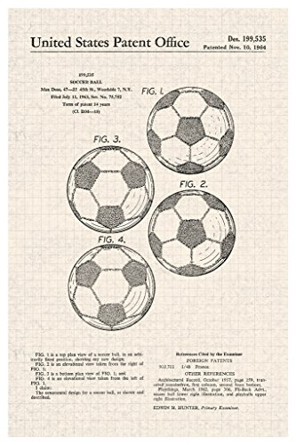 Soccer Ball Classic Official Patent Diagram Poster 12x18 inch