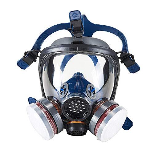 Organic Vapor Full Face Respirator Safety Mask, IVSUN Activated Carbon Respirator Paint Respirator Gas Chemical Dustproof Pesticides Mask (Respirator +1 Pair LDY3 Cartridges