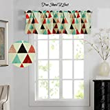 Cute Kitchen Window Curtains H.Versailtex Energy Saving Curtain Valances Matching with Curtain Panels (Rod Pocket,52 by 18 Inch,Geo Triangle in Red and Black)