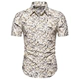 Men's Shirts Casual Short Sleeve Button Down T-Shirt Hawaii Printed Turn-Down Collar Slim Beach Tops