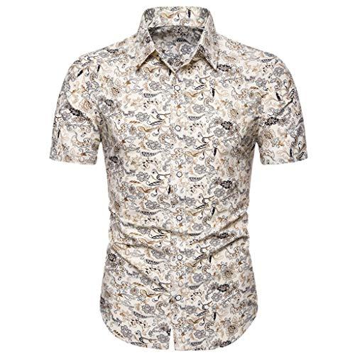 YOCheerful Men's Summer Tops Slim Loose Hawaiian Short Sleeve Printed Shirts Trun-Down Collar T-Shirt Casual Tops(Yellow, 3XL) ()