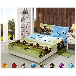 4 Piece Set Luxury 3d Print Vivid Animals Pattern Deep Pocket Bed Sheet Set (1 Flat Sheet,1 Fitted Sheet,2 Pillow Case/Pillow Sham)(King, Horse Eagle)