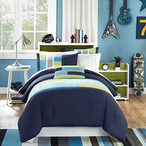 Navy, Teal, Light Green Boys Full Comforter and Shams Set Plus BONUS PILLOW (4 PC Set)