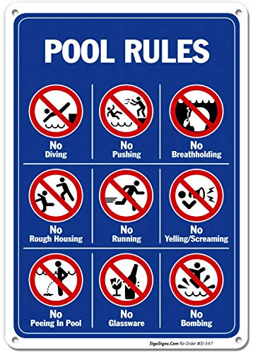 Sigo Signs Rust Free Aluminum Pool Rules Sign - 10 in. x14 in.