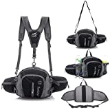 Multifunctional Waterproof Outdoor Waist Pack Backpack Shoulder Bag Daypack with Water Bottle Pockets Waist Bag Fanny Pack for Running / Hiking / Camping / Cycling / Traveling (Black)