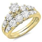 1.80 Carat (ctw) 14K Yellow Gold Round Diamond Ladies 3 Stone Bridal Engagement Ring Set (Size 6)