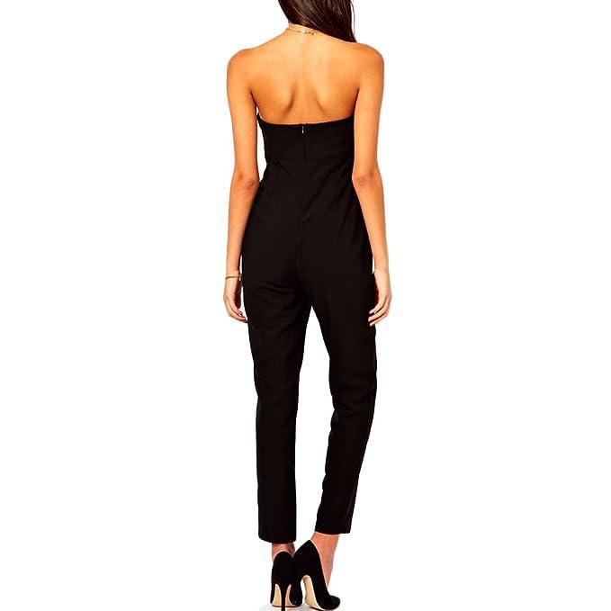 Toocool - Overall tuta intera donna tutina nera pantaloni elegante nuova DL- 1209 nero 21ca99e312f
