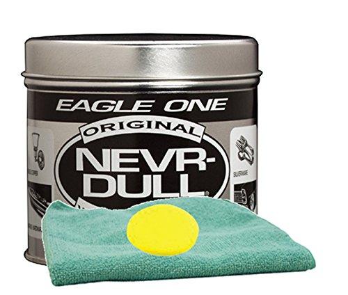 Eagle One Never-Dull Wadding Metal Polish (5 oz.) Bundle With Microfiber Cloth & Foam Pad (3 Items) ()