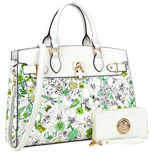 MMK Collection Fashion Women handbag~Pad-Lock Medium Fashion Satchel~ Top-Handle Purse with Matching Wallet Set(7103W) (6876-W-White flower) ()
