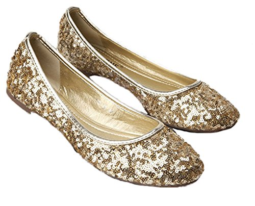 Sequin Flat Shoe (Plaid&Plain Women's Solid Sequins Round Toe Slip On Low Cut No Heels Flats Pumps Shoes Gold 39)