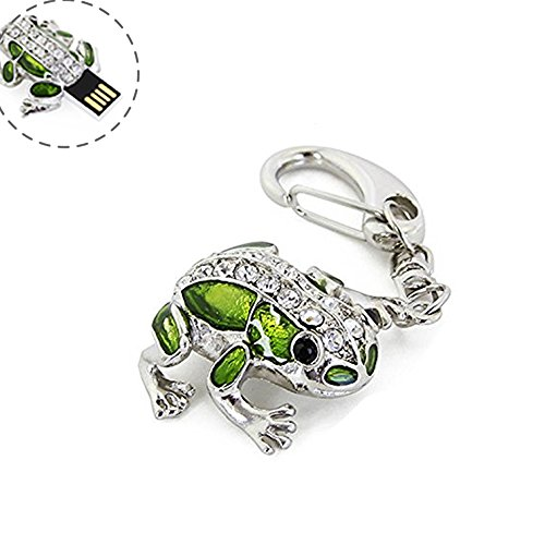 Crystal Cute and Novelty Frog Shape Animal Pen Drive 16GB USB 2.0 Flash Drive U Disk Thumb Drive Memory Stick Data Storage Jump Drive with Key Chain (Crystal Frog-16GB) (Flash Drive Frog)