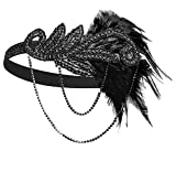 1920s Gatsby Flapper Feather Headband 20s accessories Crystal Beaded Wedding Headpiece (Black Feather)