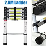 Newest 2.6M Aluminum Telescopic Multi Purpose Ladder Extension Extendable for Home Loft Portable Light Weight DIY Ladder Easy to Operate and Storage