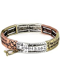 4030083a John 3:16 For God So Loved Stretch Bracelet Christian Scripture Religious