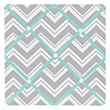 Sweet Jojo Designs Turquoise and Gray Chevron Zig Zag Fabric Memory/Memo Photo Bulletin Board