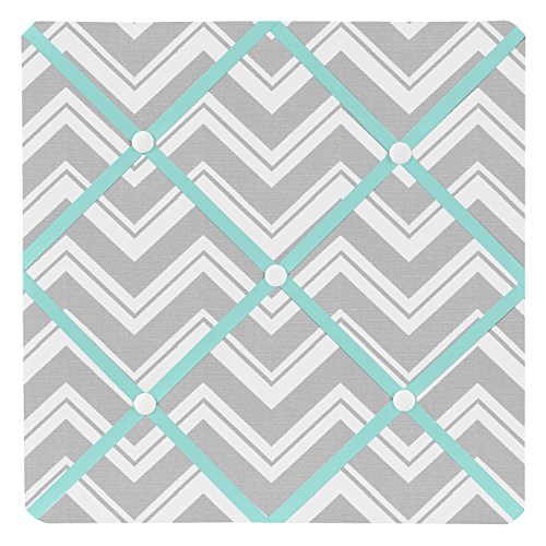 (Sweet Jojo Designs Turquoise and Gray Chevron Zig Zag Fabric Memory/Memo Photo Bulletin Board)