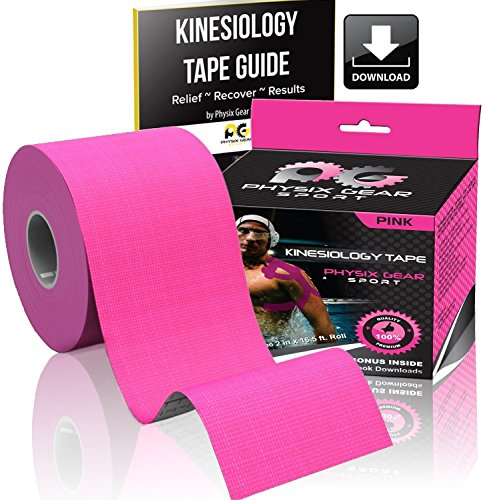 Physix Gear Sport Kinesiology Tape - Free Illustrated E-Guide - 16ft Uncut Roll - Best Pain Relief Adhesive for Muscles, Shin Splints Knee & Shoulder - 24/7 Waterproof Therapeutic Aid (1PK PNK) by Physix Gear Sport (Image #1)