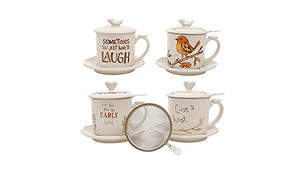 Amazon Com Creative Co Op Da4506set Stoneware Cup Lid Saucer Strainer 4 Styles With 4 Pieces Each Coffee Cups Mugs