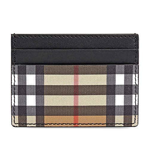 Burberry Vintage Check and Leather Card Case- Black (Wallet Men Burberry)