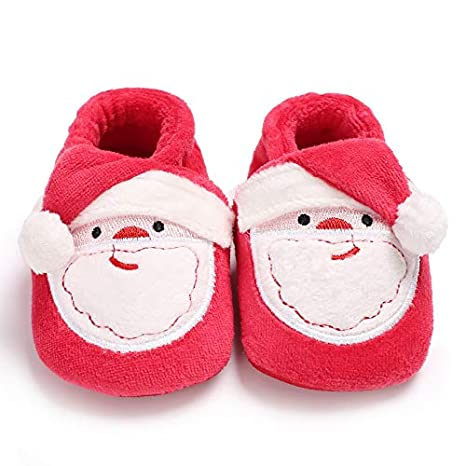 Unisex Baby Christmas Boots Slipper Shoes Infant Newborn Booties Toddler Winter Warm Cartoon Prewalker