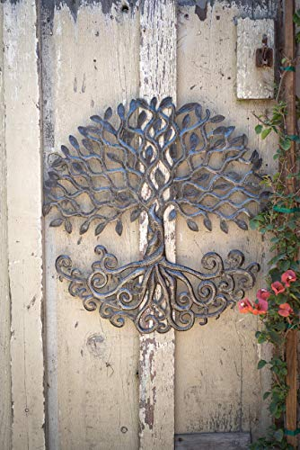 Haitian Metal Tree of Life Wall Plaque, Decorative Roots, Wall Hanging Art, Indoor or Outdoor Decor, Handmade in Haiti, NO Machines Used, 24 in. x 24 in. (Curly Roots Tree)