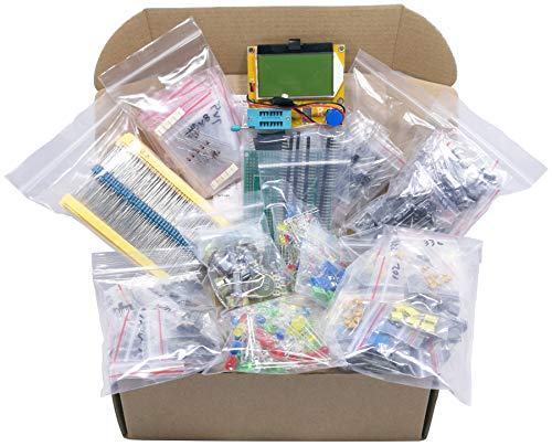 XL Electronic Component Kit Assortment, Capacitors, Resistors, LED, Transistors, Diodes, Zener, Potentiometers, LCR-T4 Component Tester, 1760 pcs