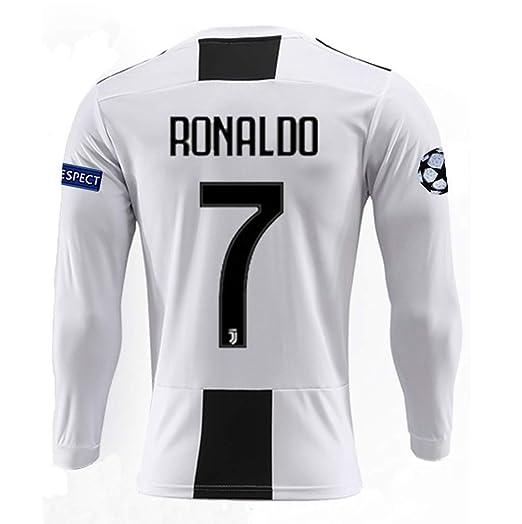 d2ffd5505 BDKHVU Juventus 18 19 Season  7 Ronaldo Mens Home Long Sleeve Soccer Jersey